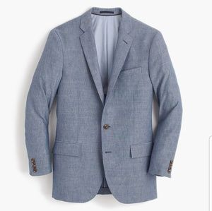 J. Crew Chambray 2-Button Ludlow Wool-Linen Jacket